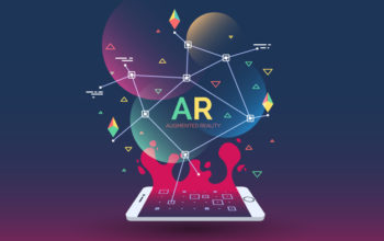 abstract creative illustration with augmented reality phone, vector illustration for landing page. AR concept for web and app.